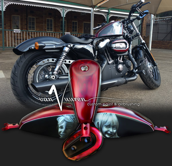 Custom Paint and airbrushed Harley Davidson Sportster Fourt Eight motorcycle