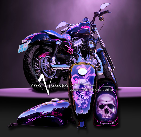custom painted harley davidson 883 scull candy